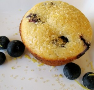 Blueberry muffin on a white plate with blueberries and sugar scattered around