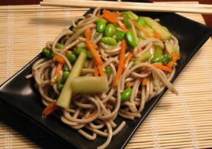 Soba noodle salad with fresh vegetables