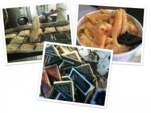 A collage of scenes from Beecher's Handmade Cheese in Seattle