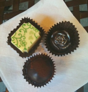 A trio of chocolates from Roses Chocolate Treasures in Seattle