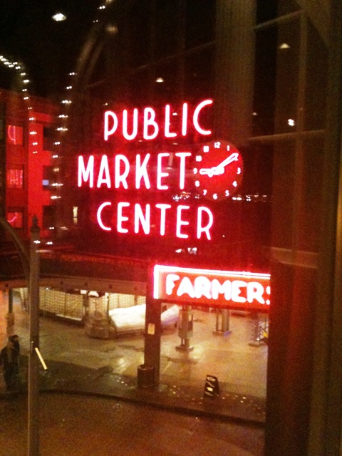 Pike Place Neon Sign at Night