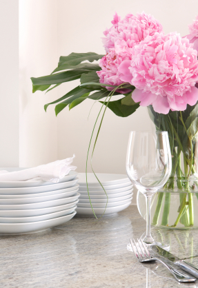place setting & white dishes, peonies - home  entertaining