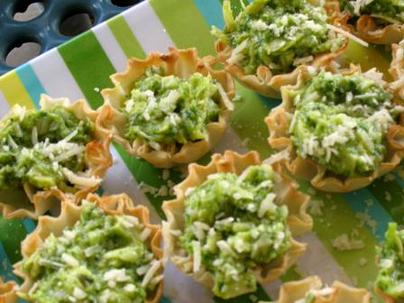 Filo Cups with Pesto and Artichoke Filling