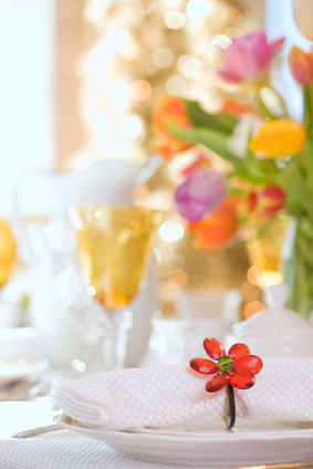 Table set with spring flowers and decore
