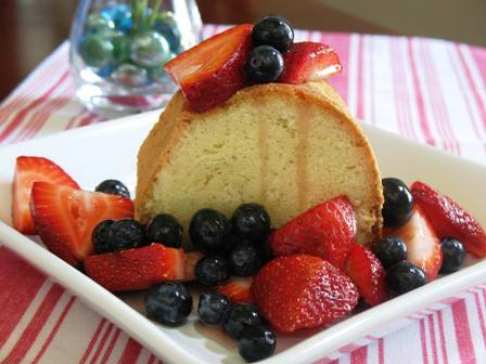 Pound Cake with Strawberries and Blueberries