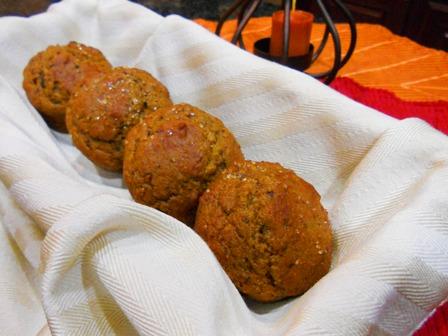 Pumpkin Walnut Muffins in a basket