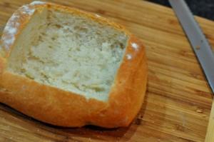 Ciabatta bread hollowed out for Chorizo Cheese Bread