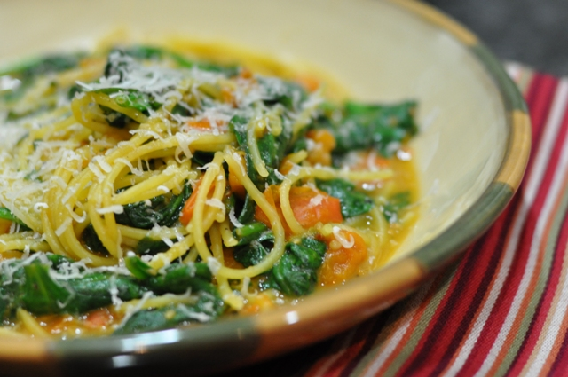 Quinoa Pasta with Spinach and Tomatoes from January 2011 Bon Appetite