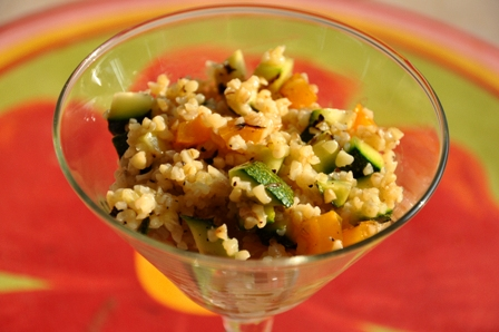 Cold Sald: Bulgur Wheat Tossed with Grilled Summer Vegetables