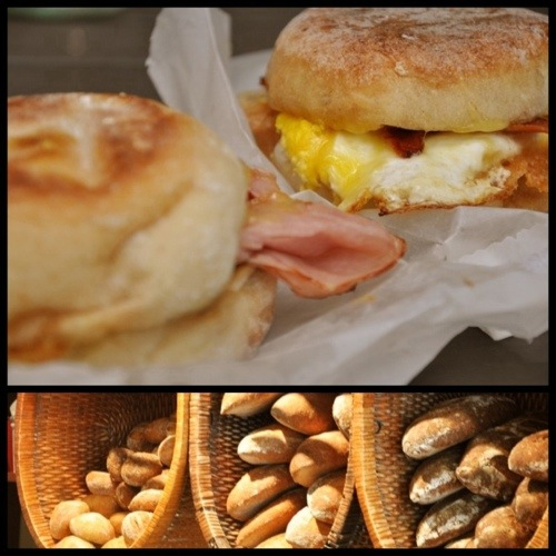 Egg sandwiches and bread baskets at Dahlia Bakery in Seattle, WA