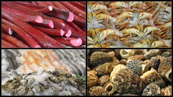 rhubarb, morel mushrooms, oysters, and fish at Pike Place Market in Seattle, WA.