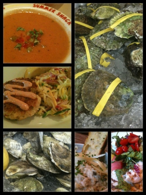 Collage of food images from Boston, MA: oysters, gazpacho, crab cakes, risotto, tomatoes